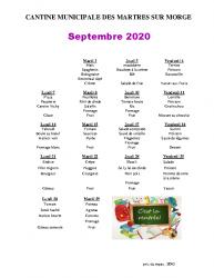 MENU SEPTEMBRE 2020