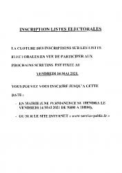 SERVICE PUBLIC – INSCRIPTION LISTE ELECTORALE