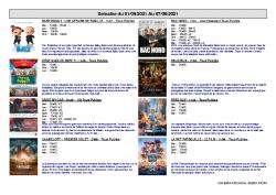 Programme Cine ARCADIA Riom semaine du 01 au 07 sept 2021