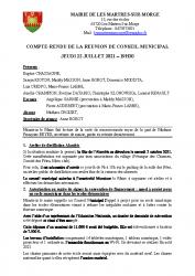 REUNION CONSEIL MUNICIPAL 22 JUILLET 2021