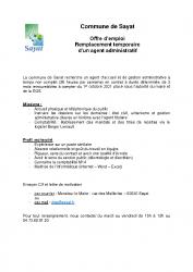 COMMUNE DE SAYAT – offre d'emploi agent administratif